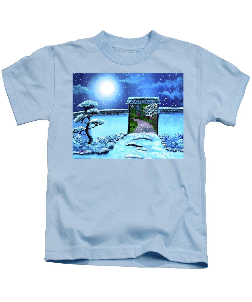 Landscape Kids T-Shirt featuring the painting Gate To Spring by Laura Iverson