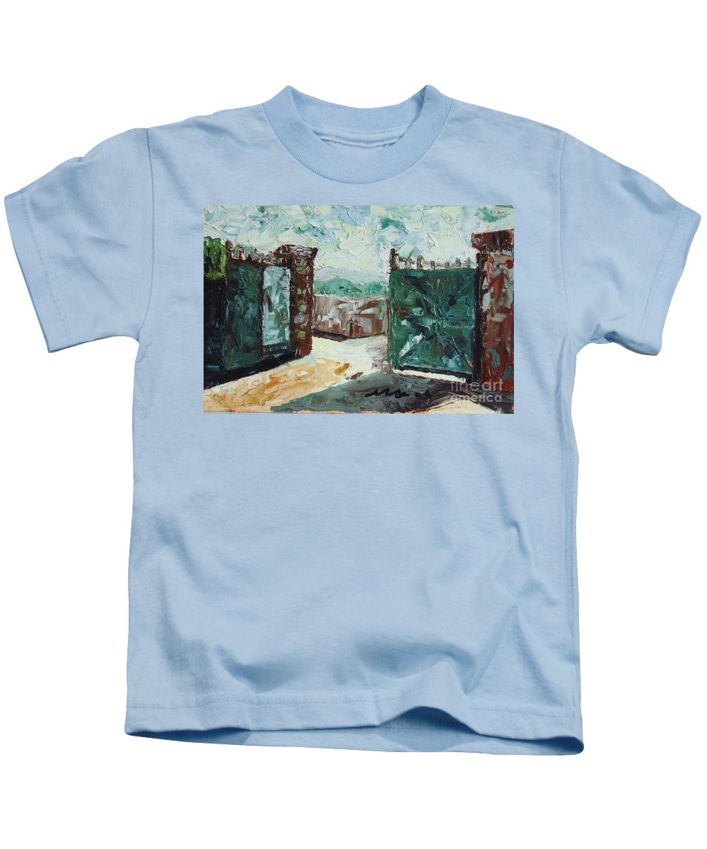 Gate Oil Canvas Kids T-Shirt featuring the painting Gate2 by Seon-Jeong Kim