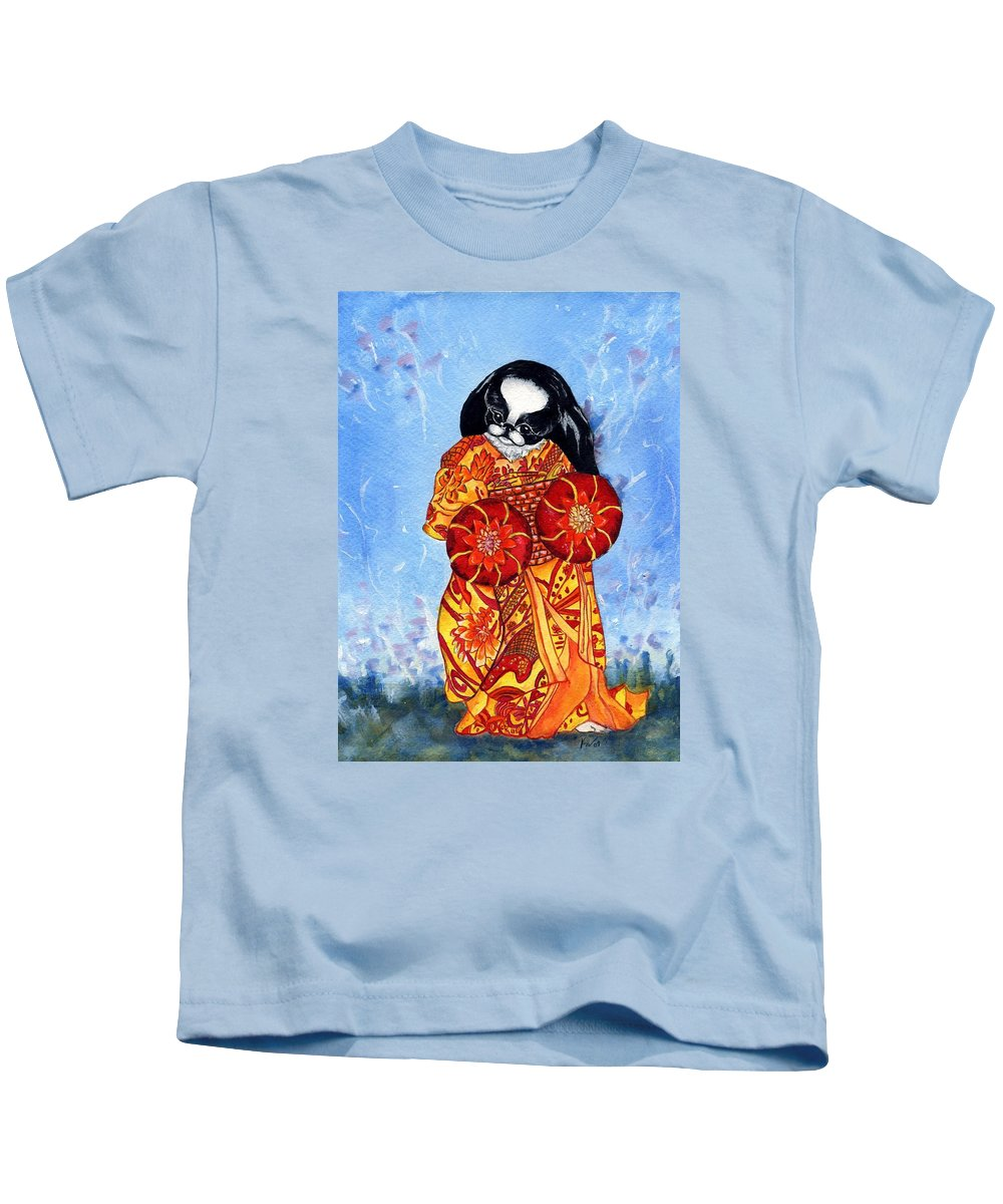 Japanese Chin Kids T-Shirt featuring the painting Geisha Chin by Kathleen Sepulveda