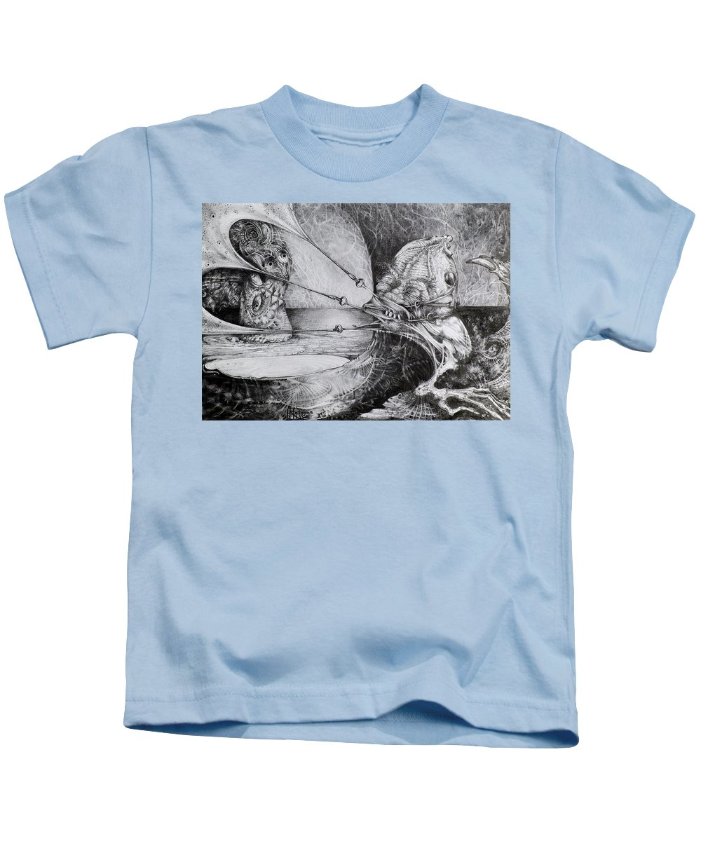 Surrealism Kids T-Shirt featuring the drawing General Peckerwood In Purgatory by Otto Rapp