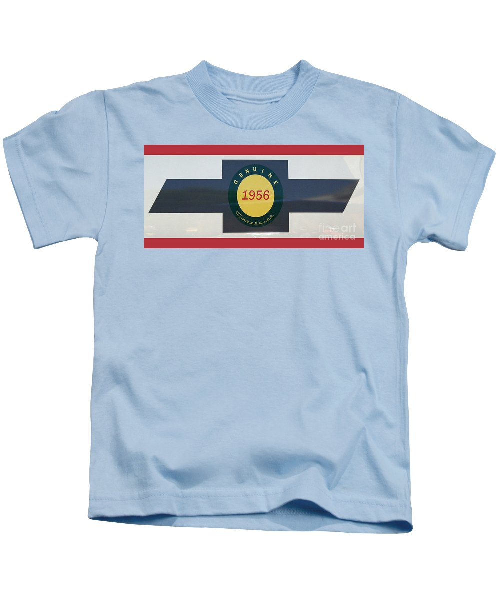 Chevy Kids T-Shirt featuring the photograph Genuine 1956 Chevrolet by Gwyn Newcombe