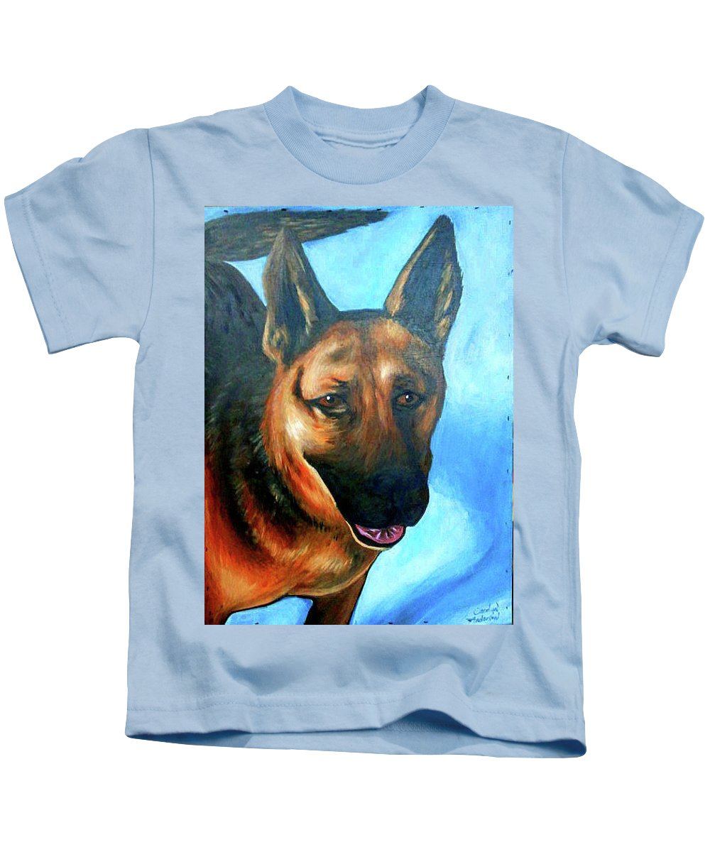 Dog Kids T-Shirt featuring the painting German Sheppard by Carolyn Anderson