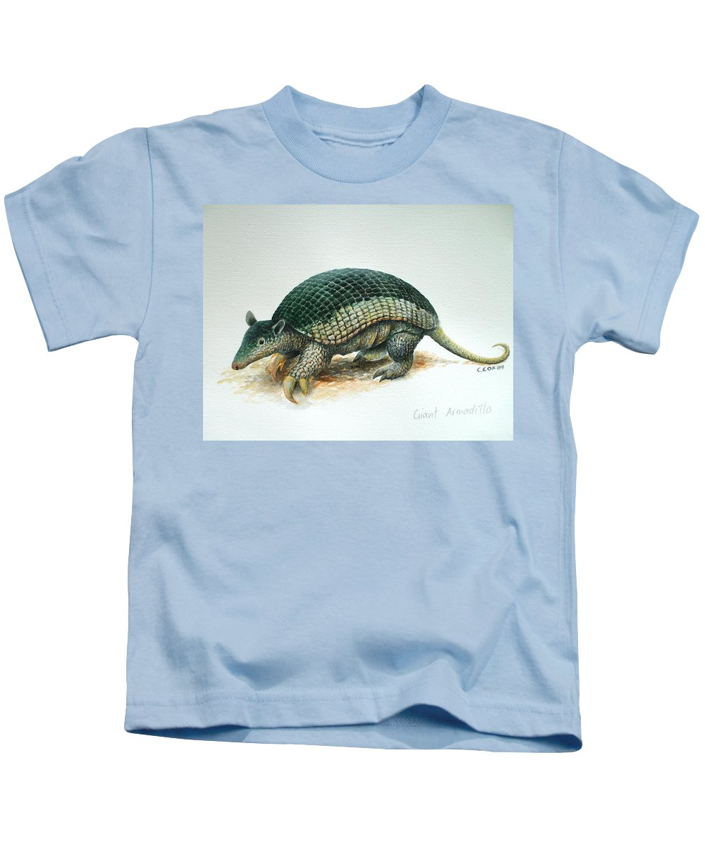 Giant Armadillo Kids T-Shirt featuring the painting Giant Armadillo by Christopher Cox