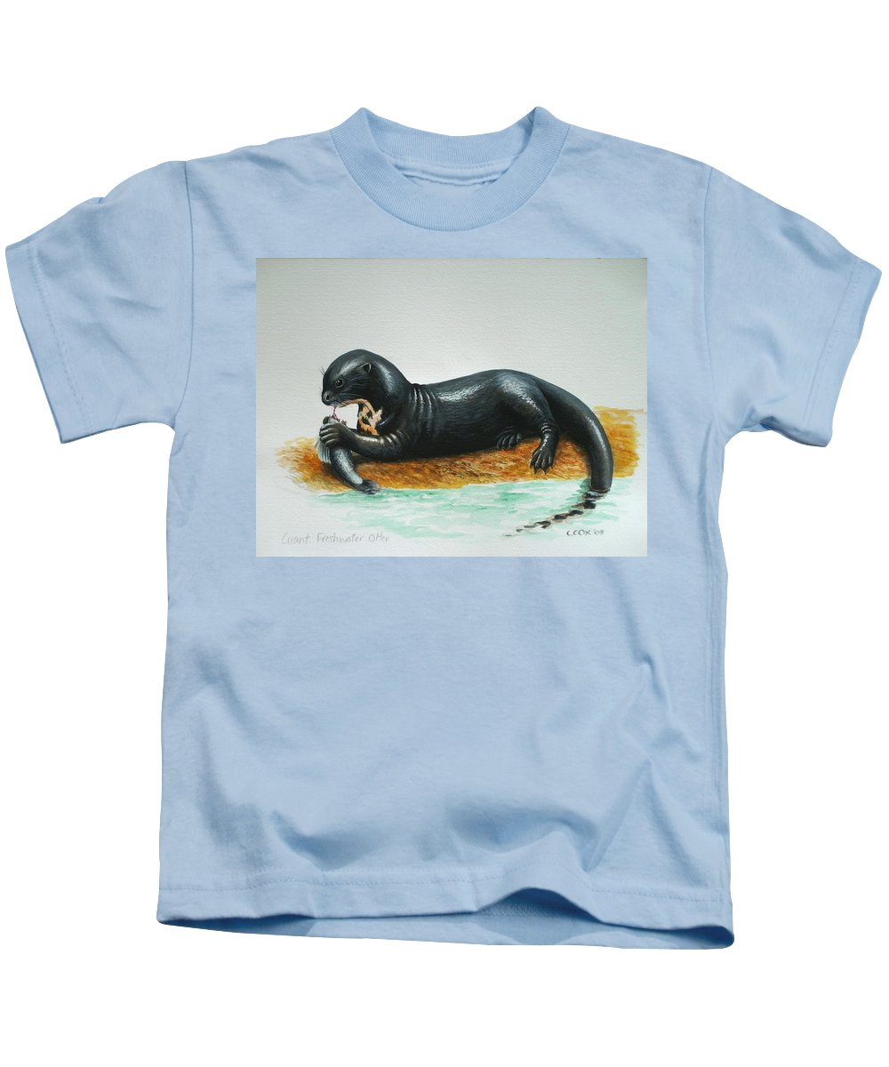 Giant River Otter Kids T-Shirt featuring the painting Giant River Otter by Christopher Cox