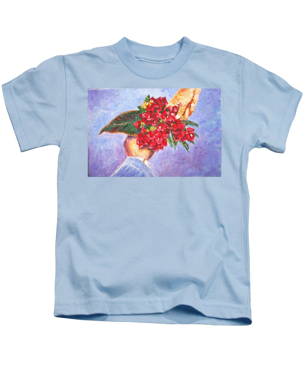 Gift Kids T-Shirt featuring the painting Gift A Bouquet - Bougenvillea by Usha Shantharam