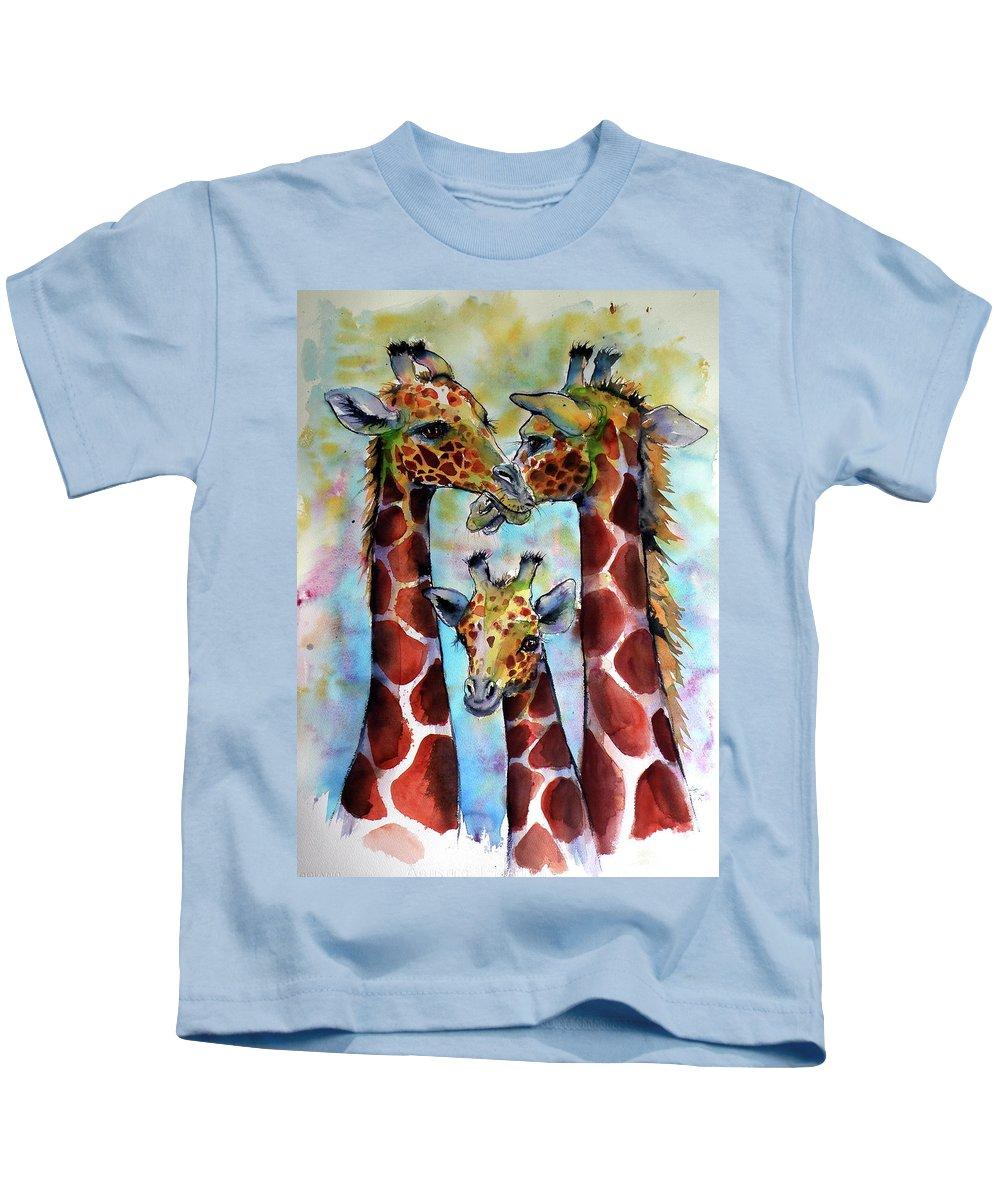 Giraffe Kids T-Shirt featuring the painting Giraffe Family by Kovacs Anna Brigitta