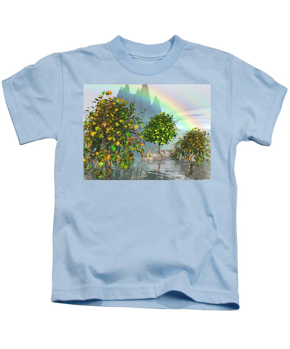 Giraffe Kids T-Shirt featuring the painting Giraffe Rainbow Heaven by Susanna Katherine