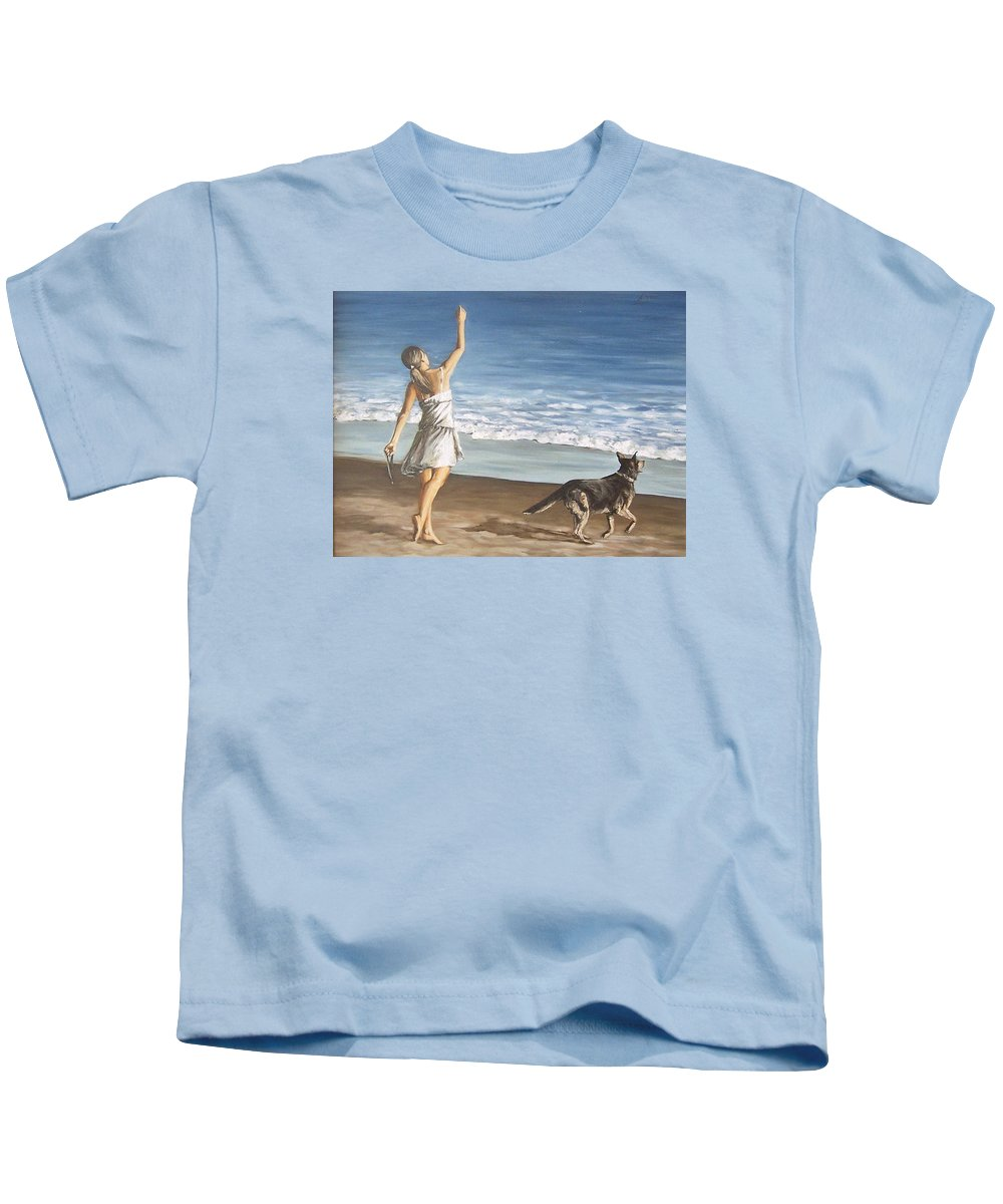 Portrait Girl Beach Dog Seascape Sea Children Figure Figurative Kids T-Shirt featuring the painting Girl And Dog by Natalia Tejera