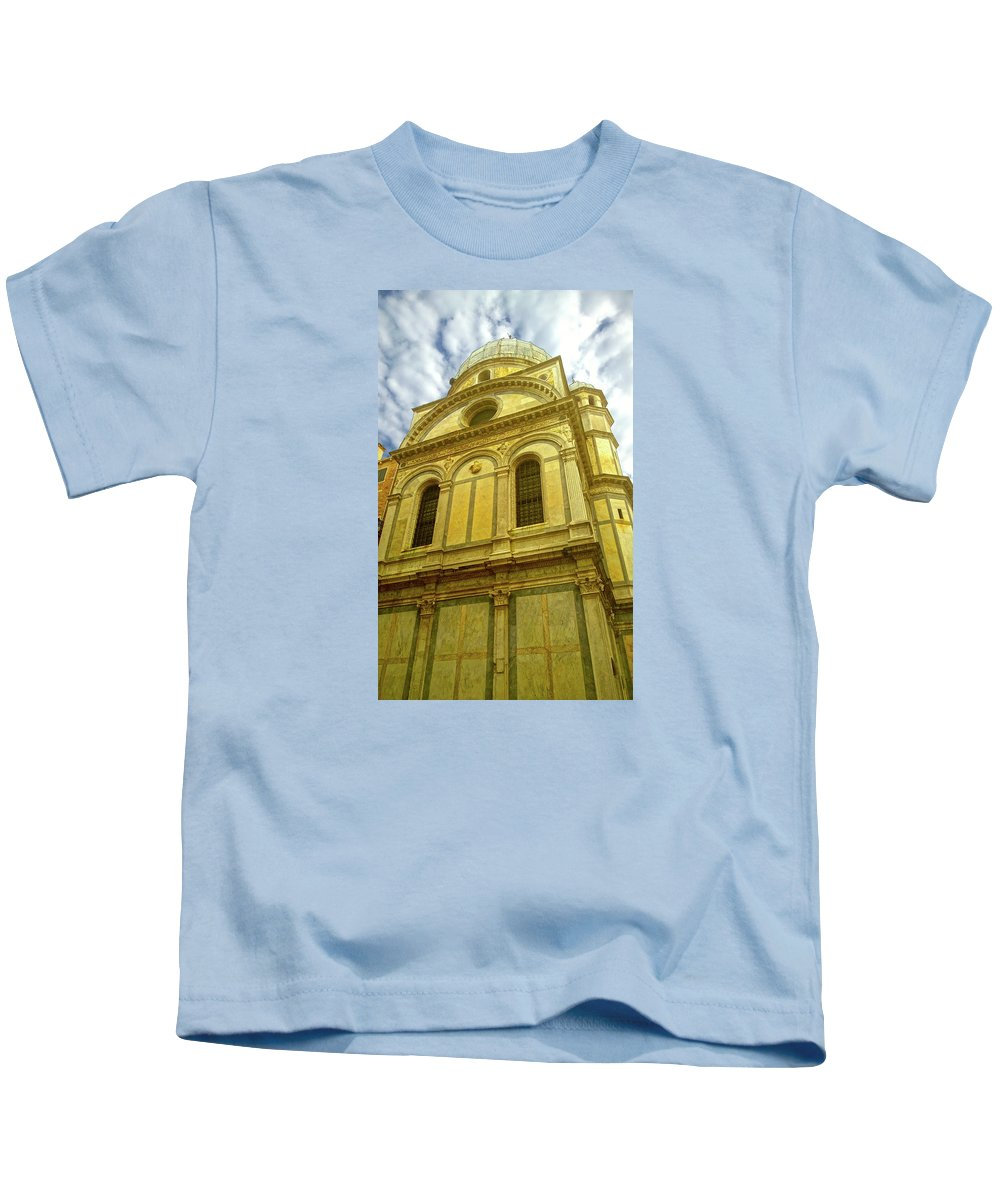 Church Sky Golden Glory Kids T-Shirt featuring the photograph Glory by Anne Kotan