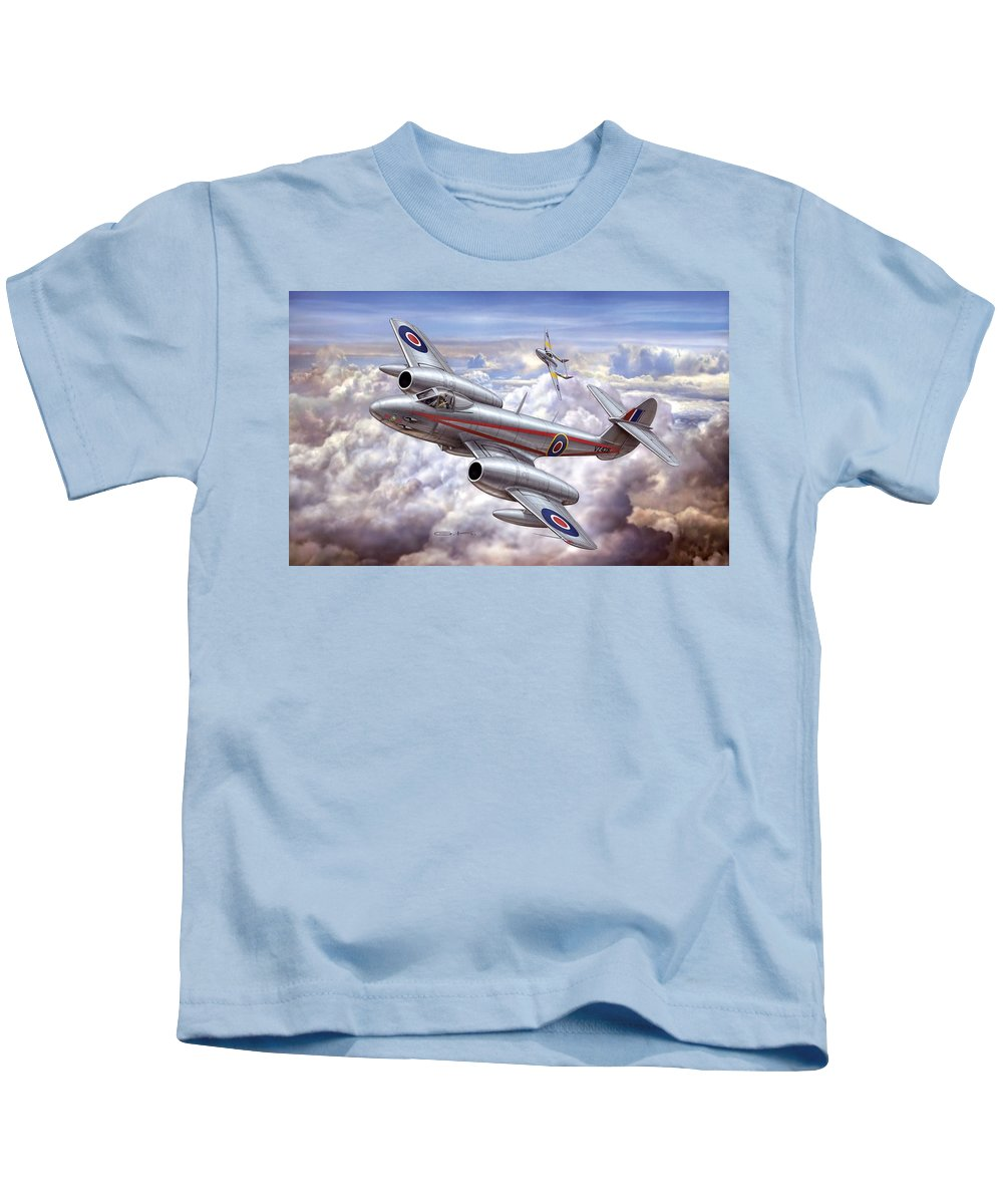 Gloster Meteor Kids T-Shirt featuring the digital art Gloster Meteor by Dorothy Binder