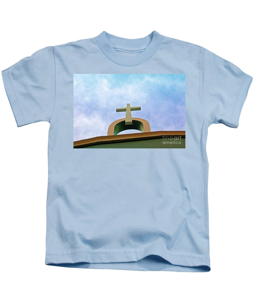 Cross Kids T-Shirt featuring the photograph Going Up by Debbi Granruth