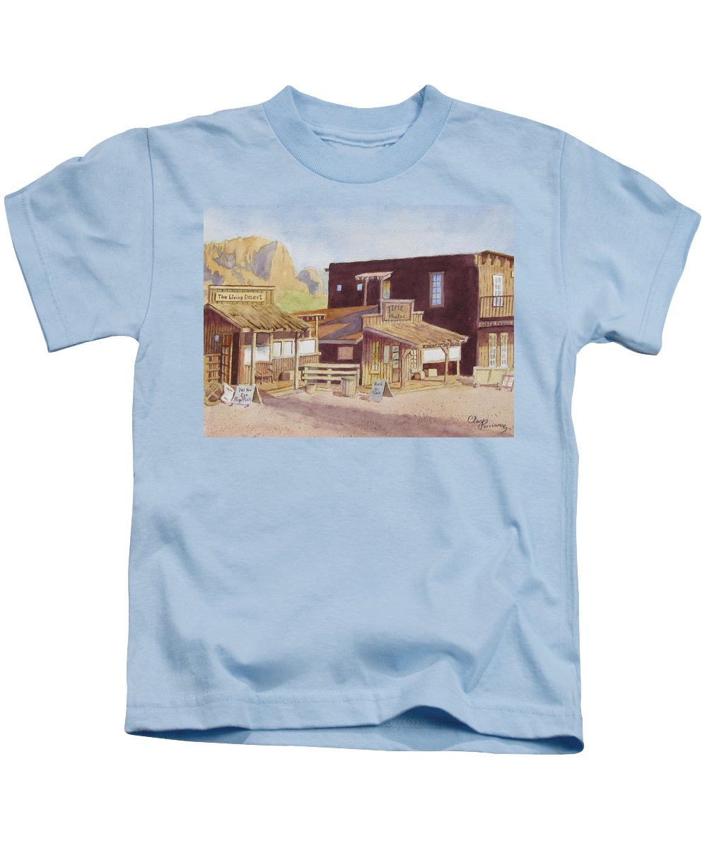 Landscape Kids T-Shirt featuring the painting Gold Town By Superstition Mountains by Clay Purviance