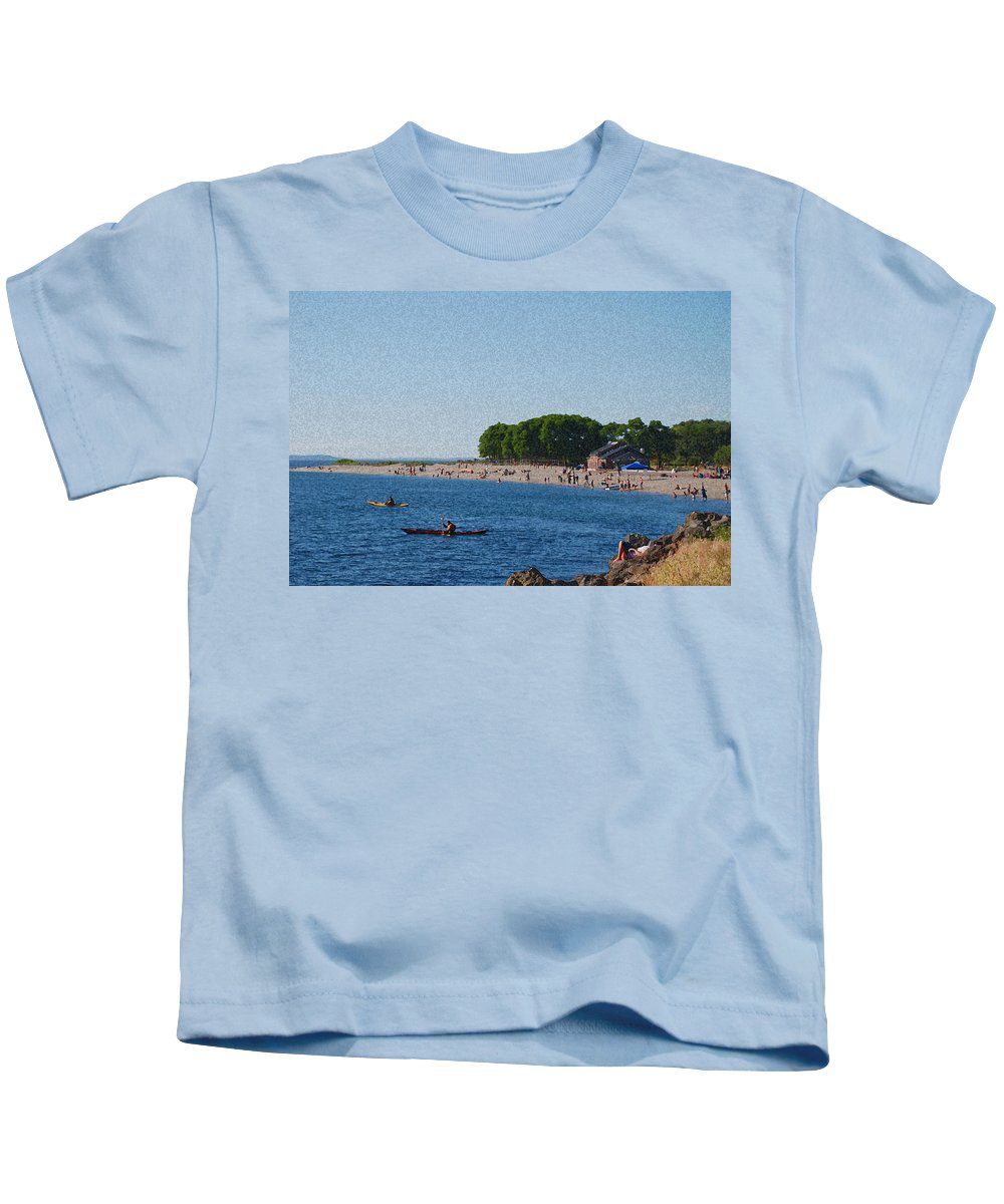 Golden Gardens Kids T-Shirt featuring the photograph Golden Gardens In Seattle Washington by Carol Eliassen