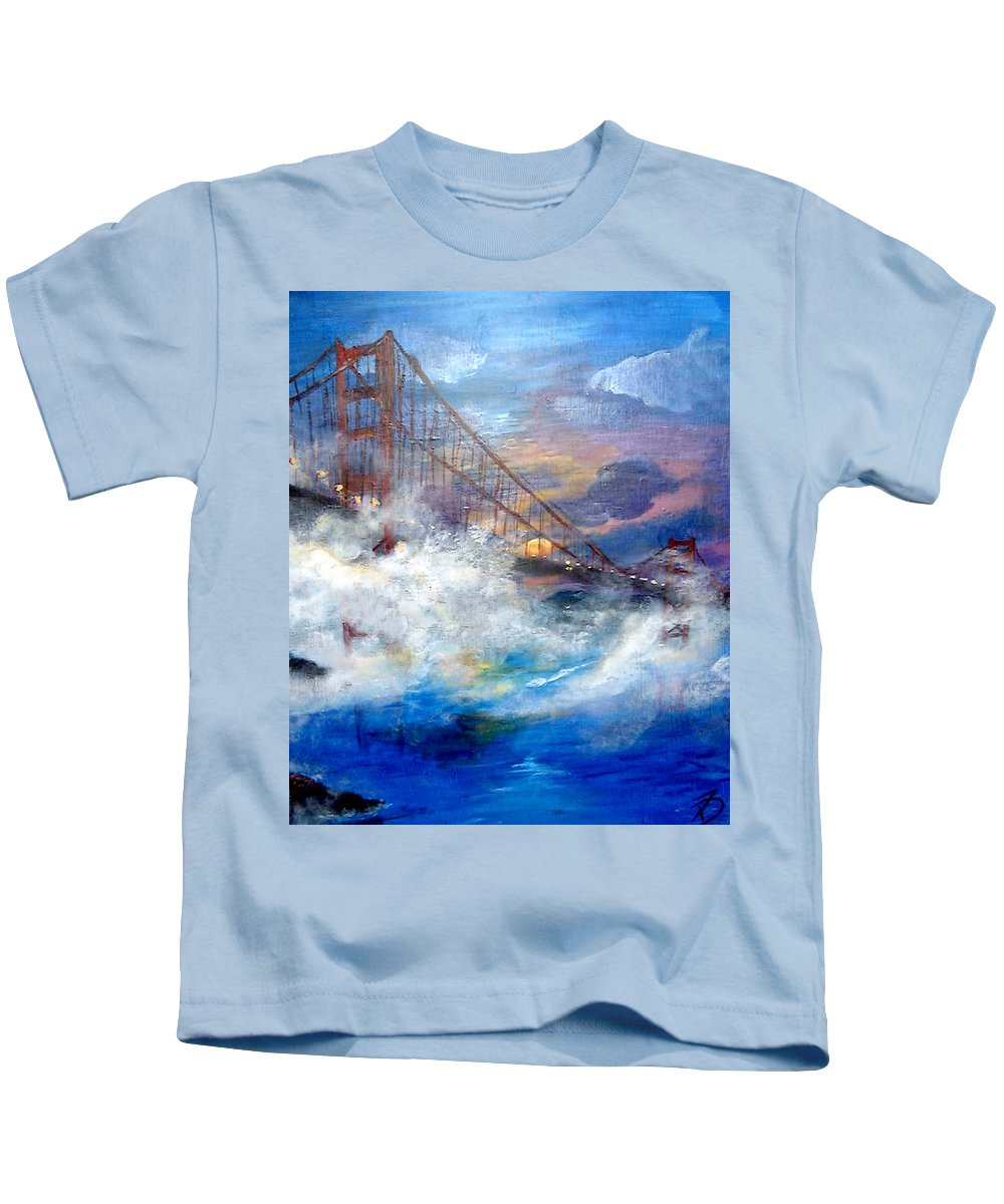 Golden Gate Kids T-Shirt featuring the painting Golden Gate Sunset by Travis Day