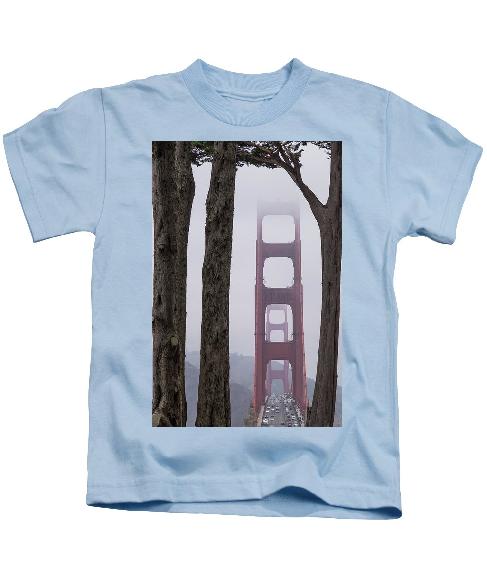 Battery Godfrey Kids T-Shirt featuring the photograph Golden Gate Through The Trees by The Camera Junkies