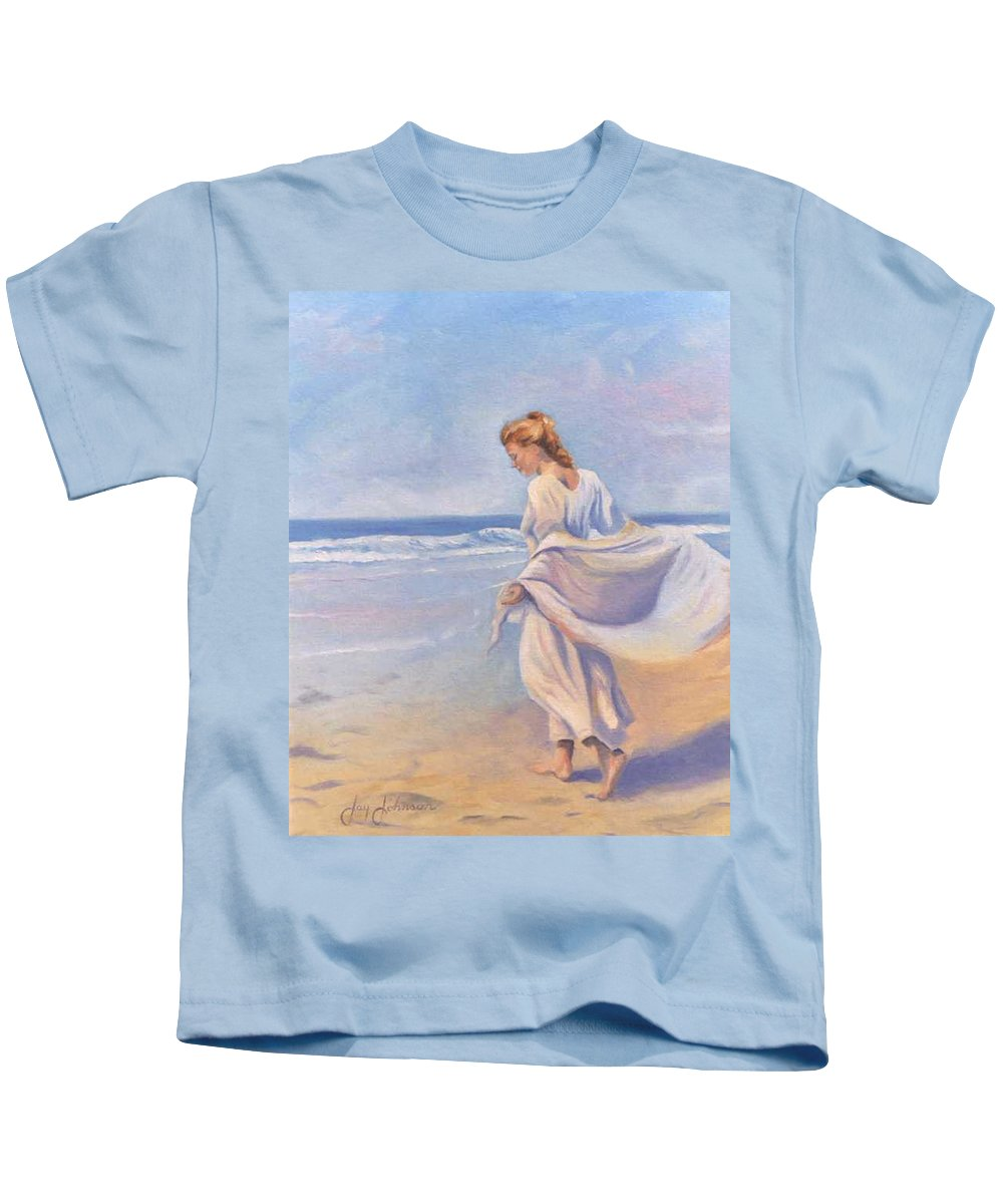 Beach Kids T-Shirt featuring the painting Golden Girls by Jay Johnson