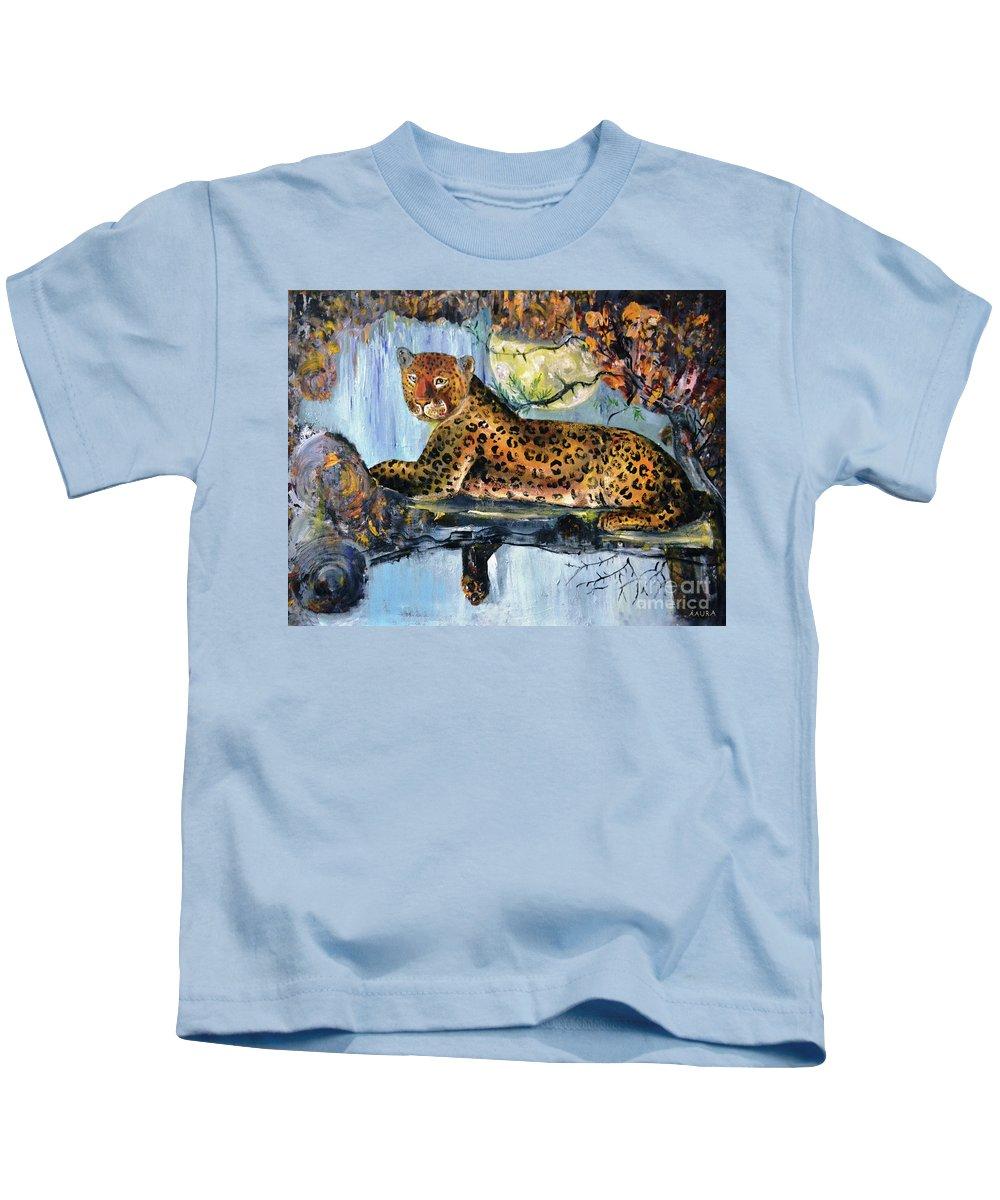 Leopard Kids T-Shirt featuring the painting Golden Leopard by Ksenia Kozhenkova