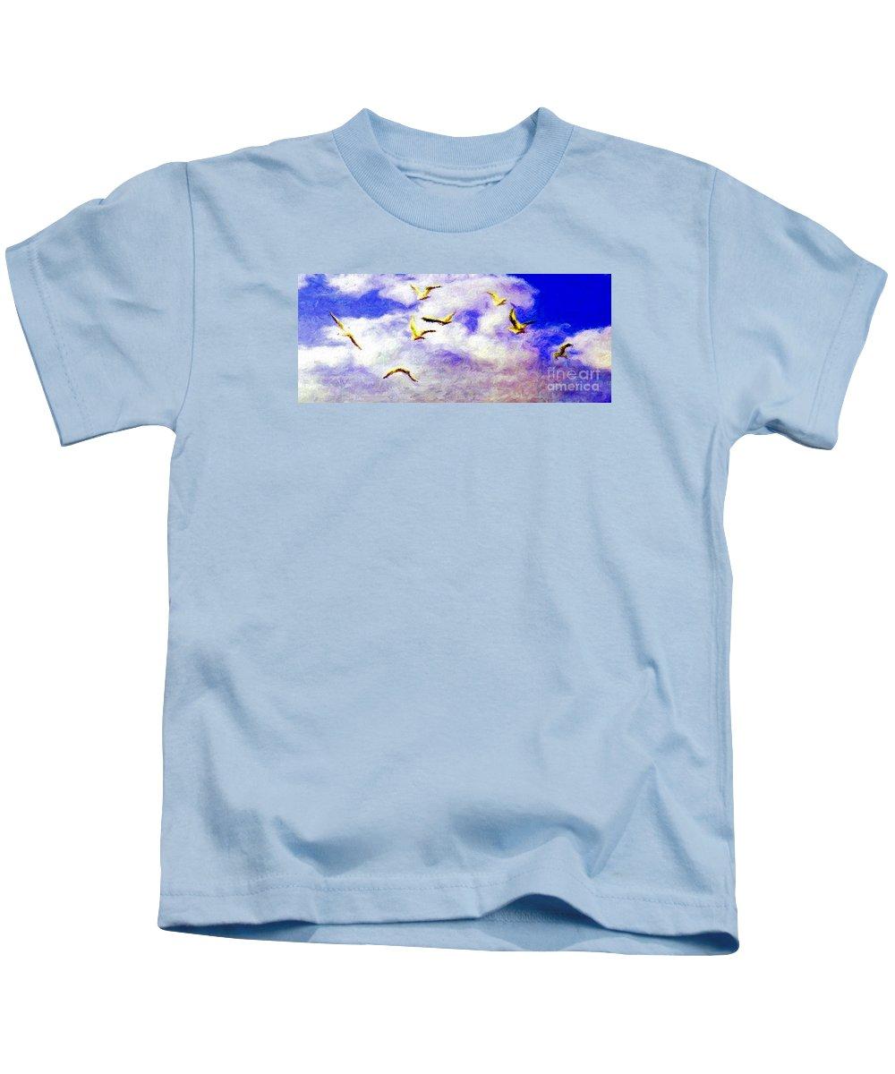 Gulls Kids T-Shirt featuring the digital art Golden Seagulls by Jerome Stumphauzer
