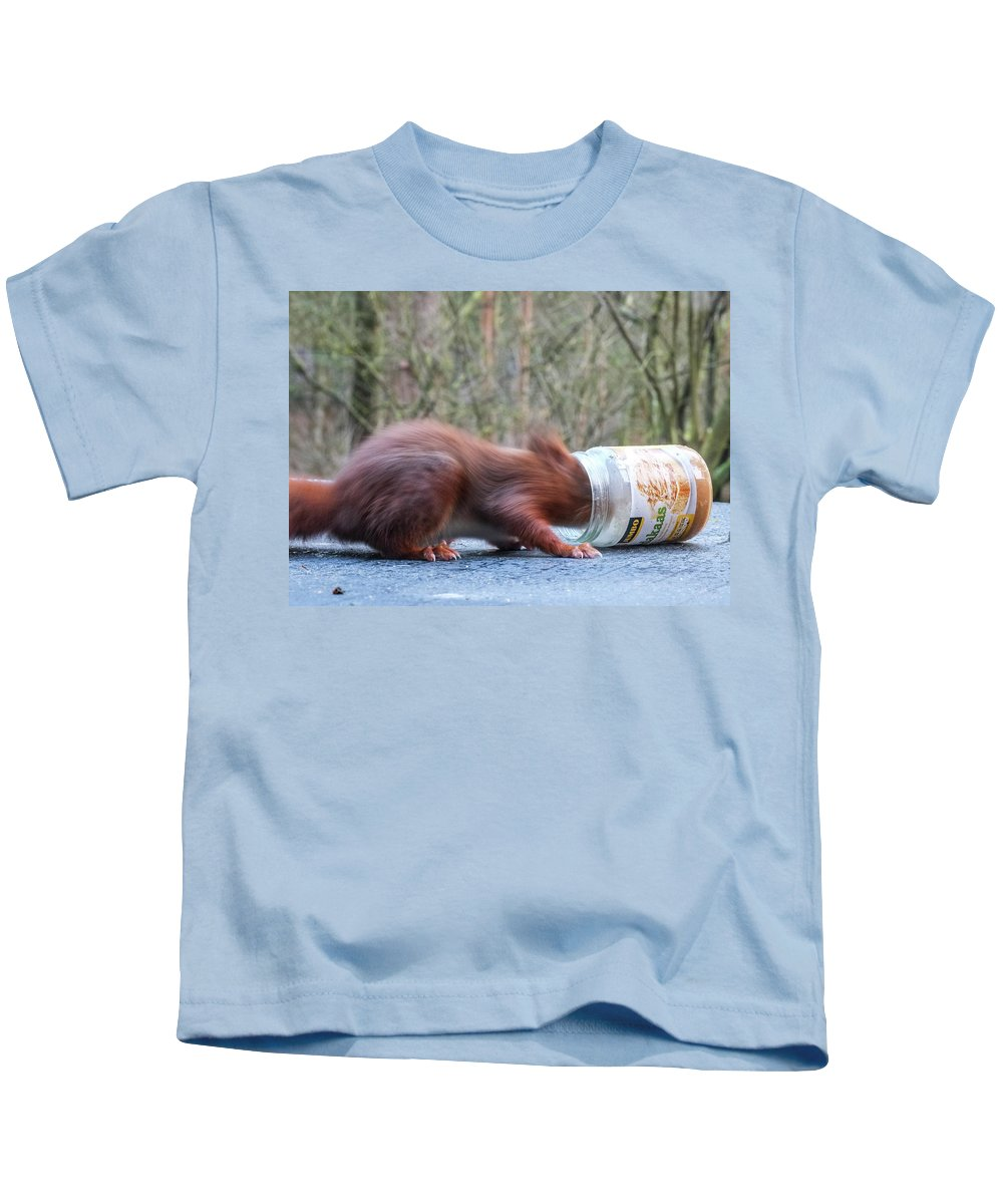 Animals Kids T-Shirt featuring the photograph Gorging Squirrel by Frits Lourens