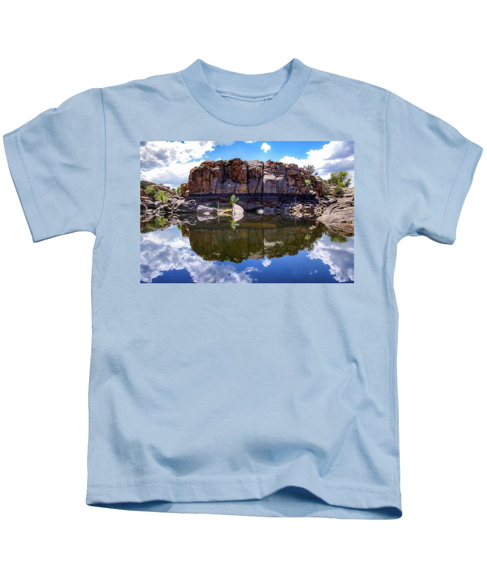 Landscape Kids T-Shirt featuring the photograph Granite Dells Reflection by Amy Sorvillo