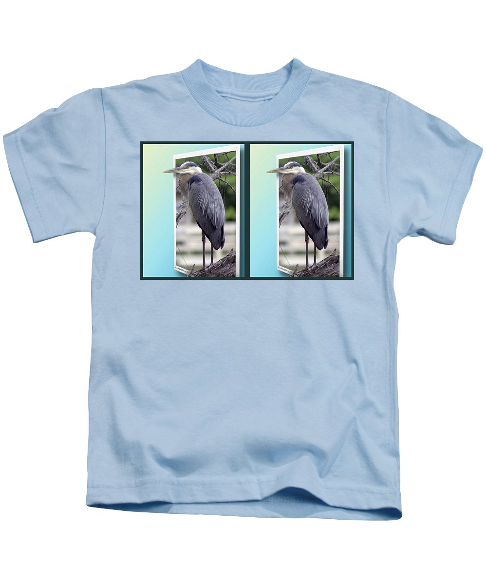 3d Kids T-Shirt featuring the photograph Great Blue Heron - Gently Cross Your Eyes And Focus On The Middle Image by Brian Wallace