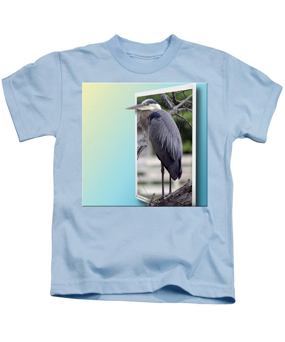 2d Kids T-Shirt featuring the photograph Great Blue Heron by Brian Wallace