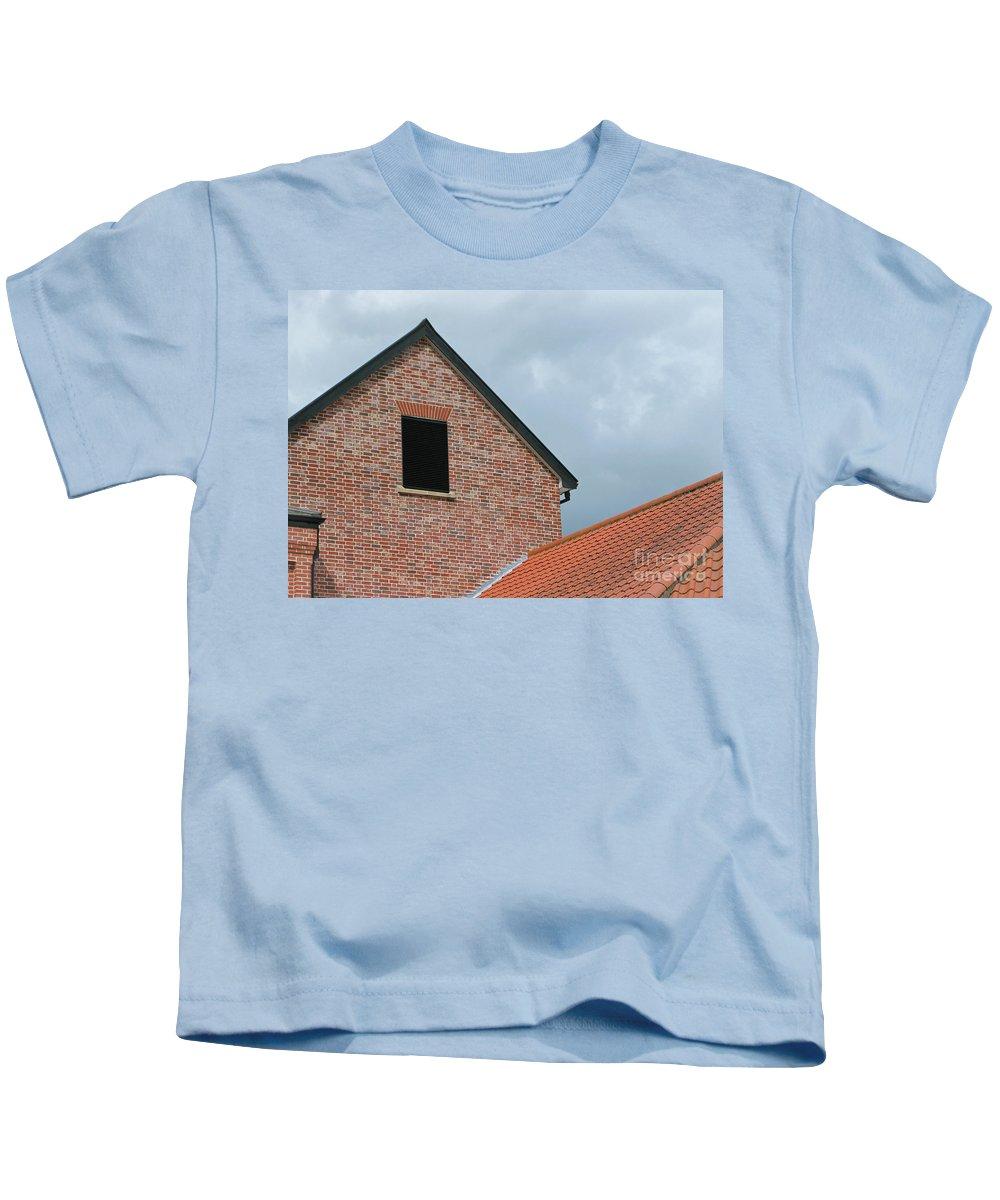 Brick Kids T-Shirt featuring the photograph Grey Skyline by Ann Horn