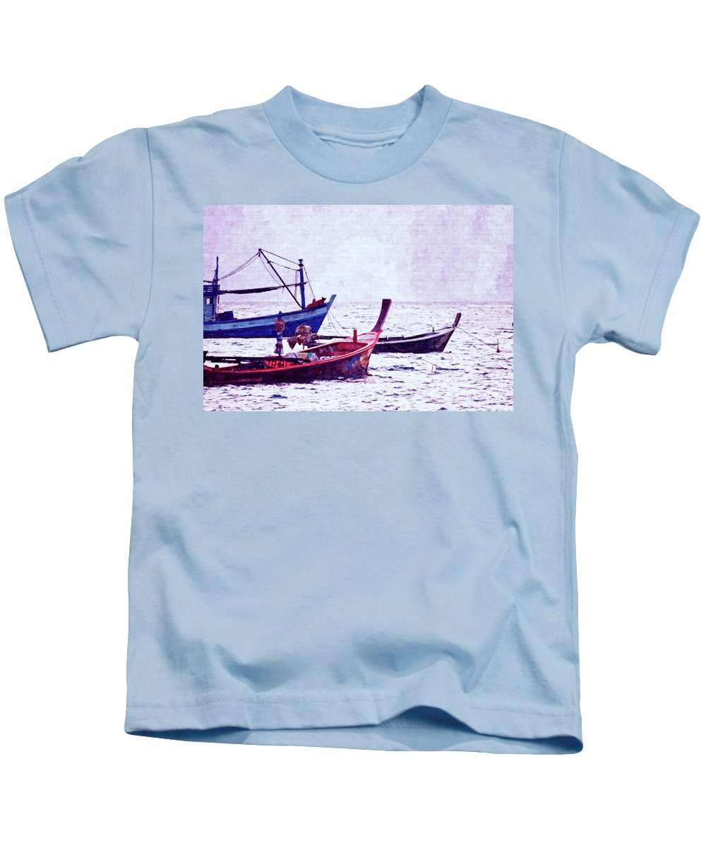 Beach Kids T-Shirt featuring the photograph Group Of Fishing Boats by Atlantis Images
