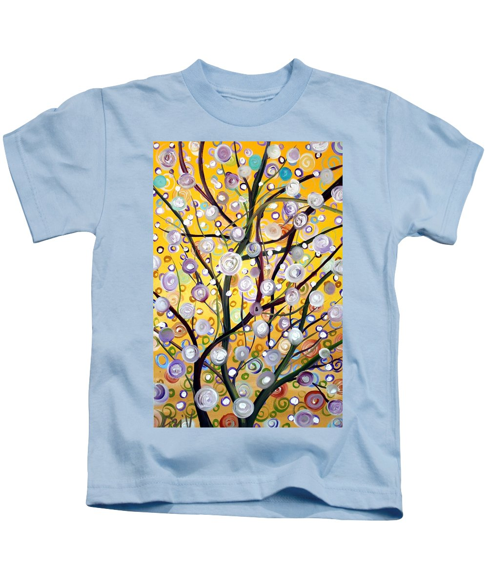 Landscape Kids T-Shirt featuring the painting Growing Together by Luiza Vizoli