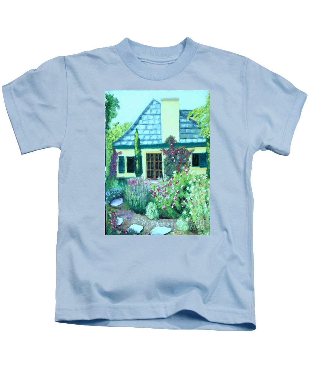 Cottage Kids T-Shirt featuring the painting Guest Cottage by Laurie Morgan