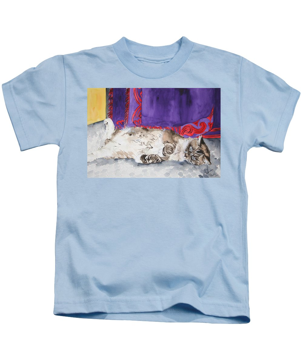 Cat Kids T-Shirt featuring the painting Guilley by Jean Blackmer