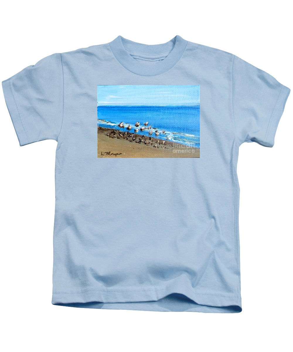 Seagull Kids T-Shirt featuring the painting Gulls At Play by Laurie Morgan
