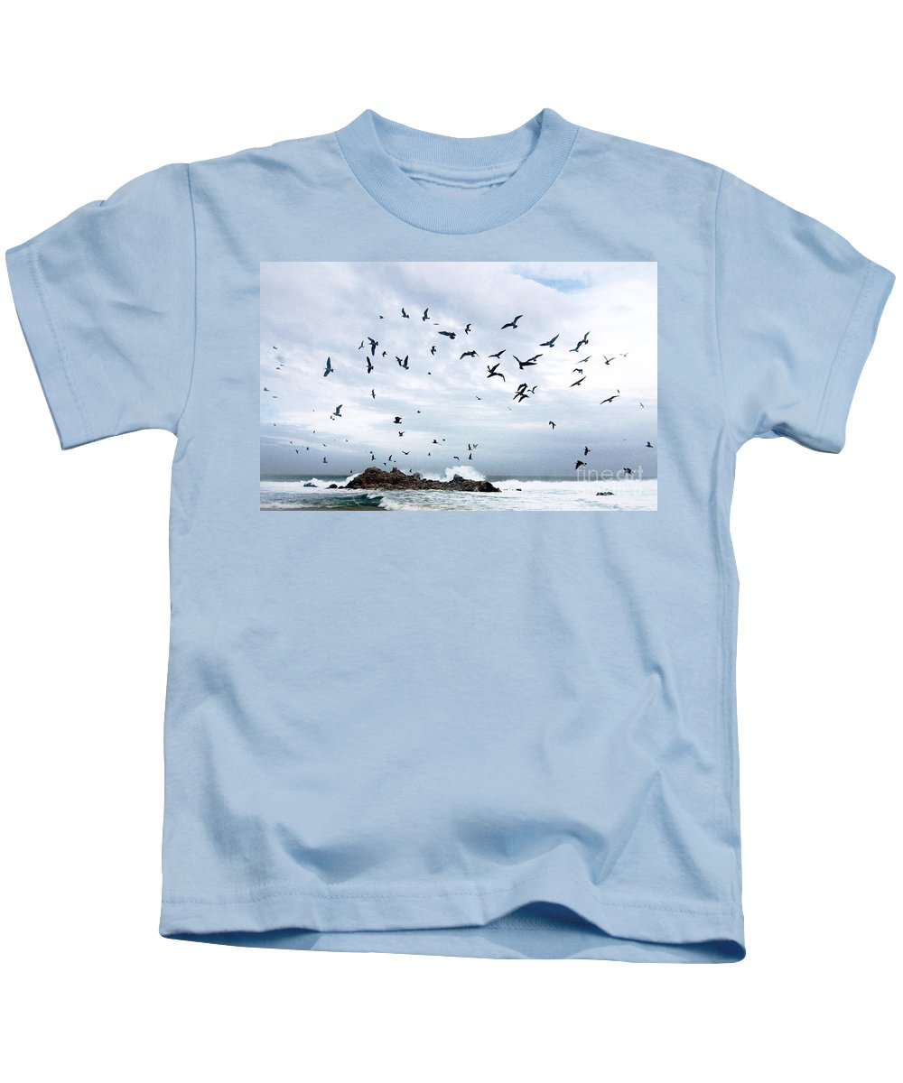 Coastal California Kids T-Shirt featuring the photograph Gulls Of Carmel by Norman Andrus