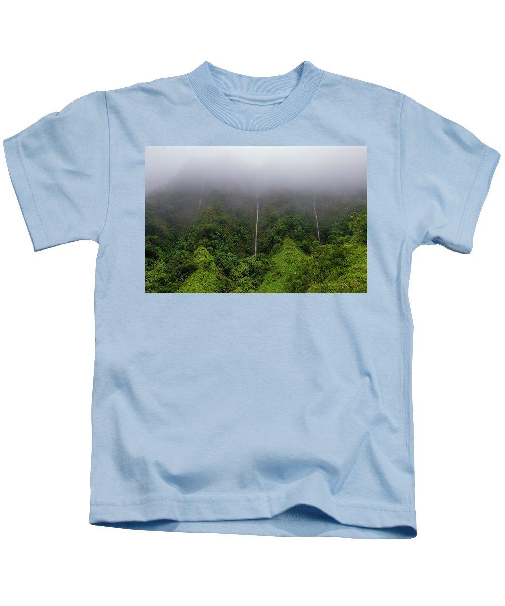 H-3 Kids T-Shirt featuring the photograph H-3 Waterfalls by John Coffey