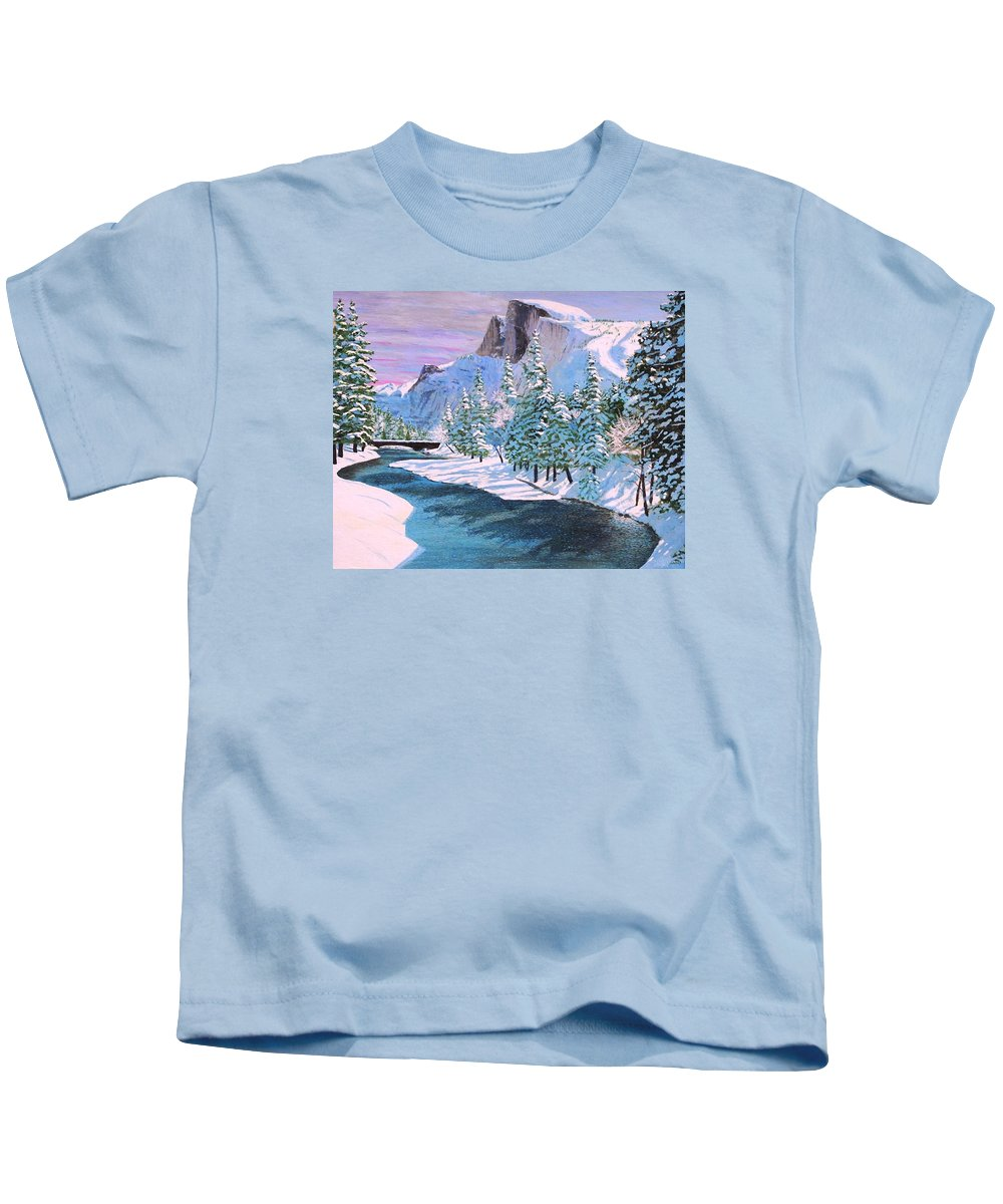 Yosemite National Park Kids T-Shirt featuring the painting Half Dome by Paul Larson