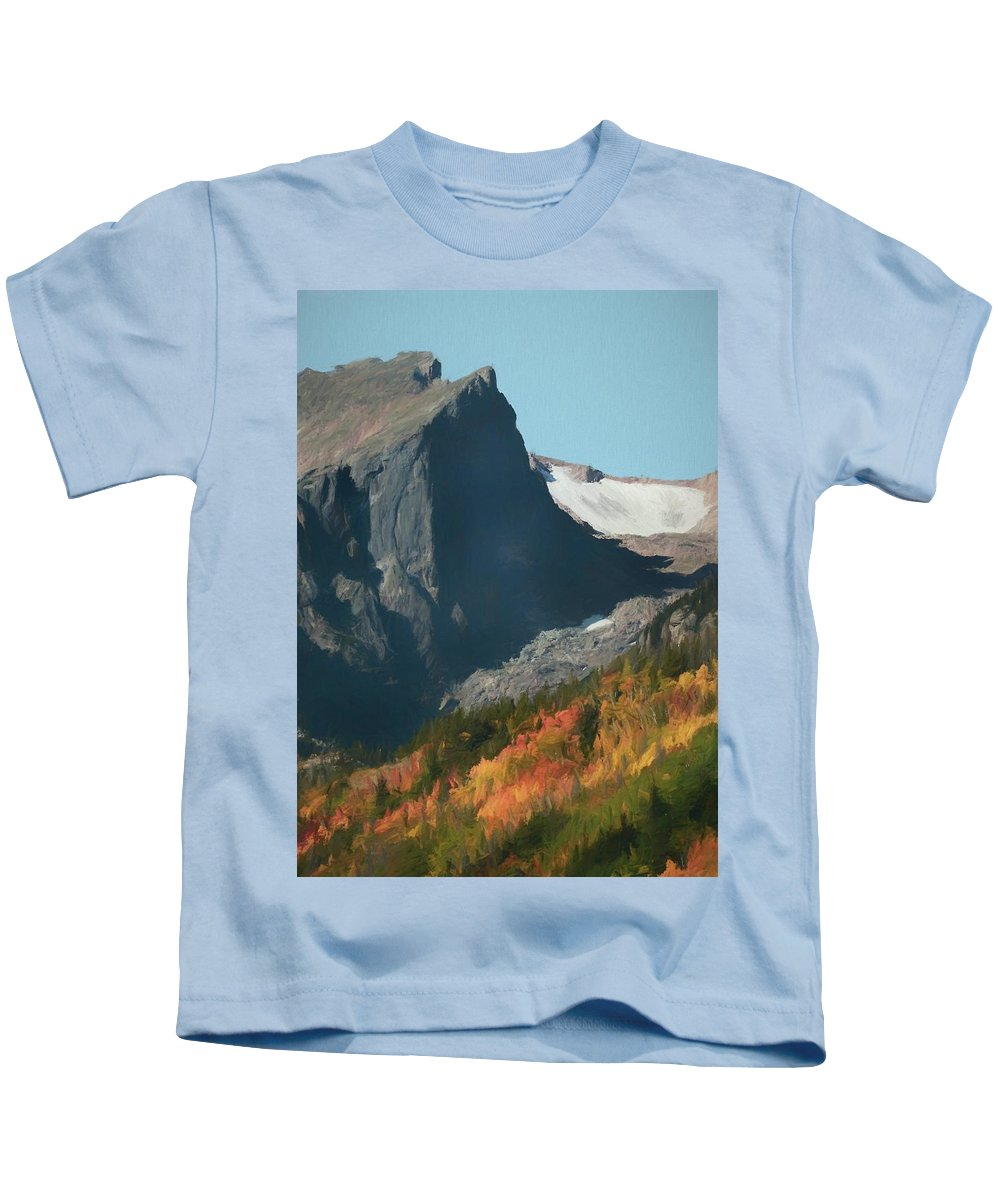 Fall Colors At Rocky Mountain National Park Kids T-Shirt featuring the painting Hallett Peak Fall Colors by Dan Sproul