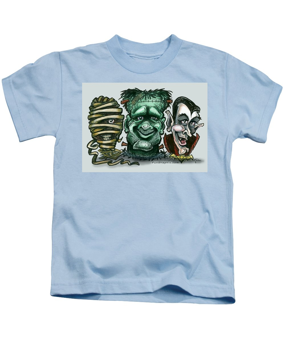 Halloween Kids T-Shirt featuring the greeting card Halloween Monsters by Kevin Middleton