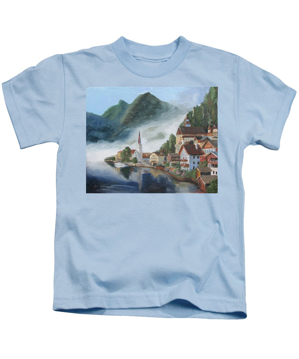 Landscape Kids T-Shirt featuring the painting Hallstatt Austria by Jay Johnson