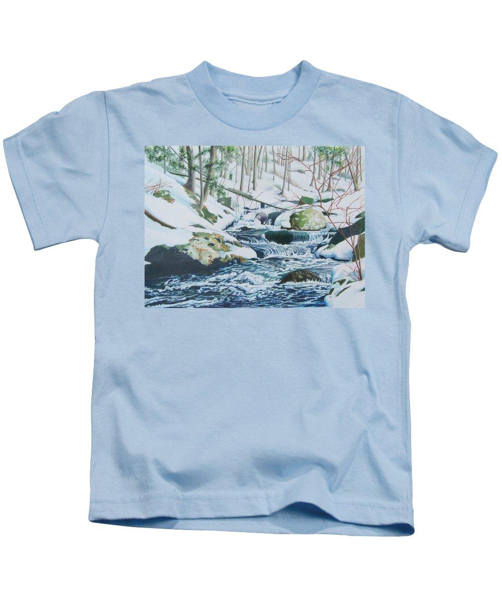 Snow Kids T-Shirt featuring the mixed media Hamburg Mountain Stream by Constance Drescher