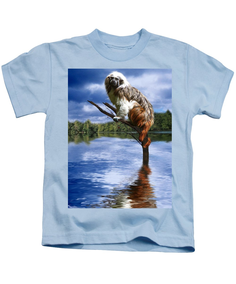 Monkey Kids T-Shirt featuring the photograph Hanging On by Gravityx9  Designs