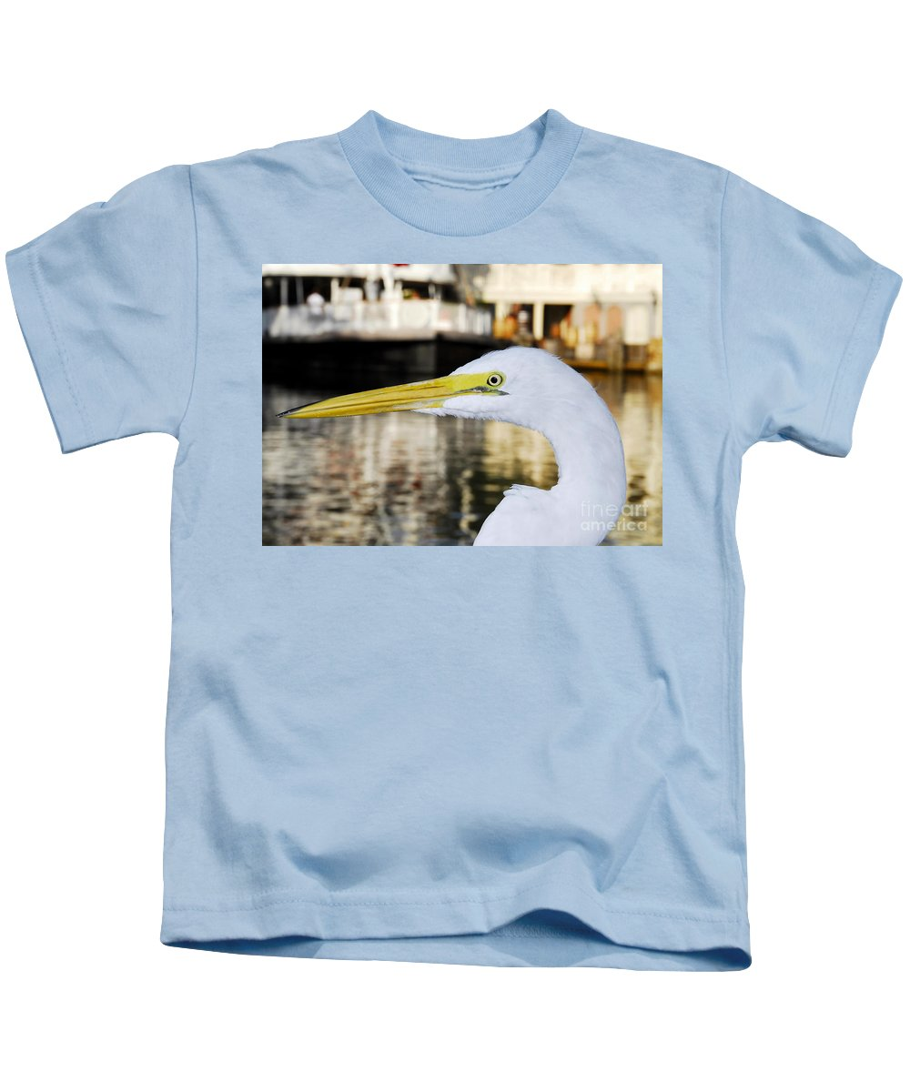 Egret Kids T-Shirt featuring the photograph Harbor Egret by David Lee Thompson