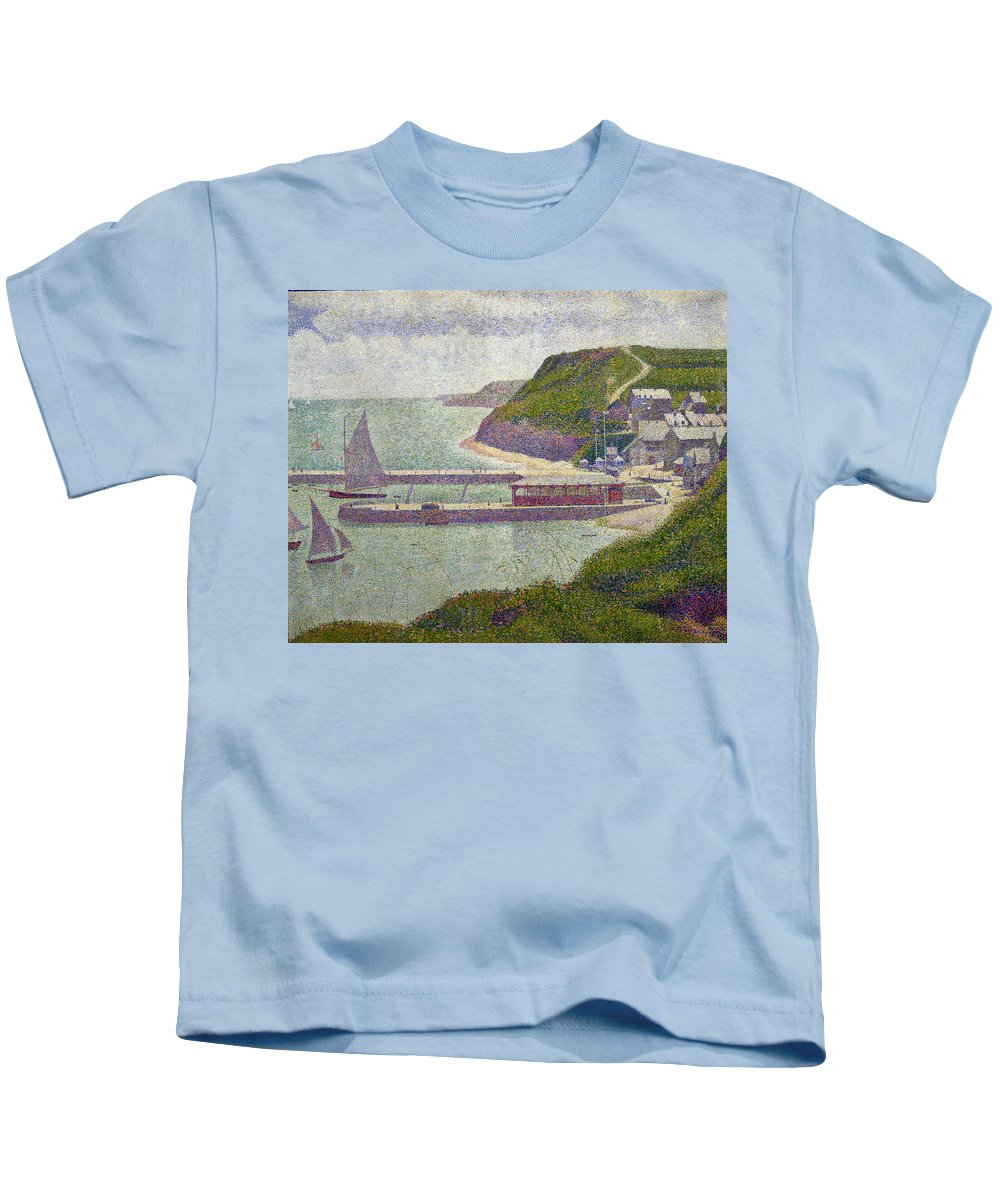 Harbour At Port-en-bessin At High Tide Kids T-Shirt featuring the painting Harbour At Port En Bessin At High Tide by Georges Pierre Seurat