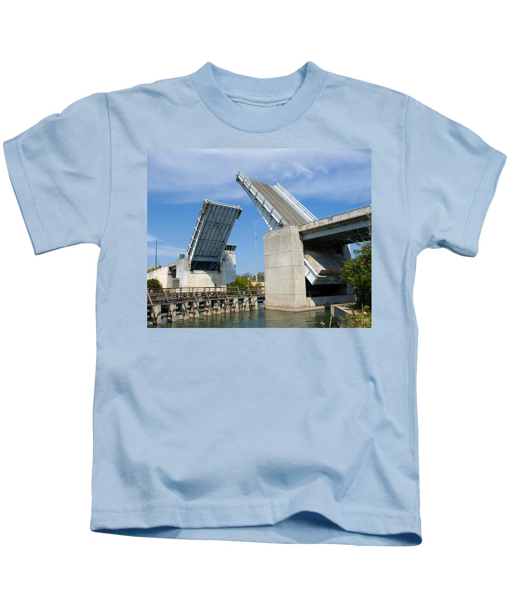 Haulover; Haul; Over; Canal; Waterway; Florida; Drawbridge; Draw; Bridge; Open; Swing; Scene; Scener Kids T-Shirt featuring the photograph Hauover Canal In Florida by Allan Hughes