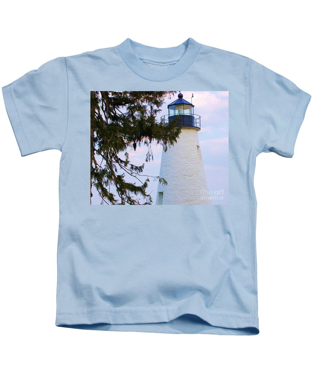 Lighthouse Kids T-Shirt featuring the photograph Havre De Grace Lighthouse by Debbi Granruth