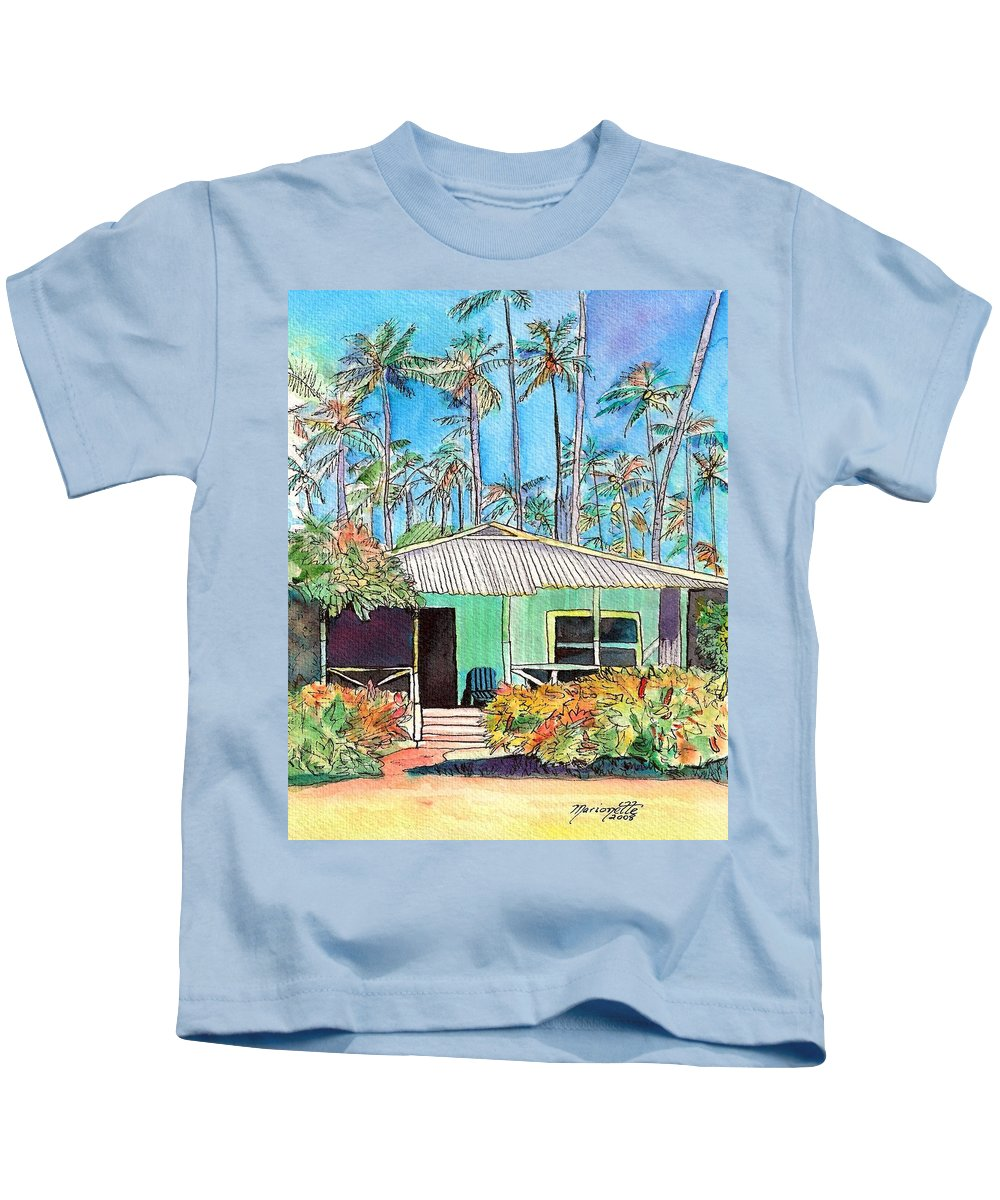 Cottage Kids T-Shirt featuring the painting Hawaiian Cottage I by Marionette Taboniar