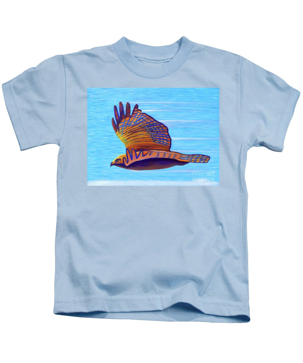 Hawk Kids T-Shirt featuring the painting Hawk Speed by Brian Commerford