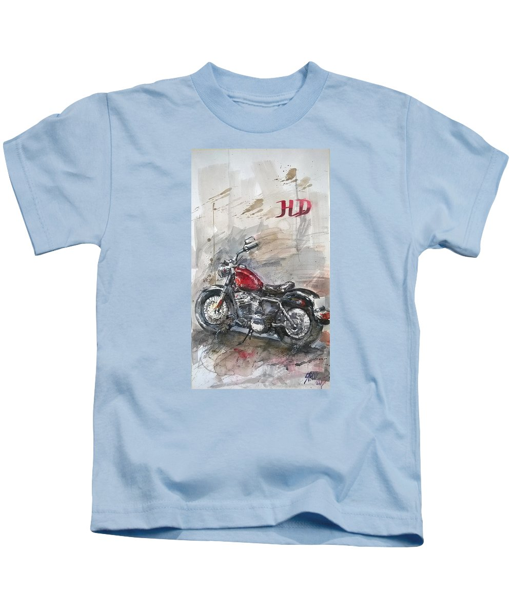 Harley Davidson Kids T-Shirt featuring the painting HD by Lorand Sipos