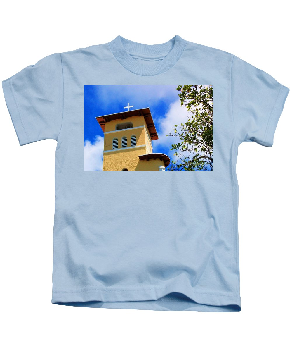 Cross Kids T-Shirt featuring the photograph Heads Up by Debbi Granruth