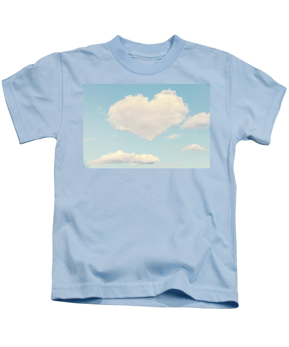Clouds Kids T-Shirt featuring the photograph Heart In The Clouds by Debi Bishop