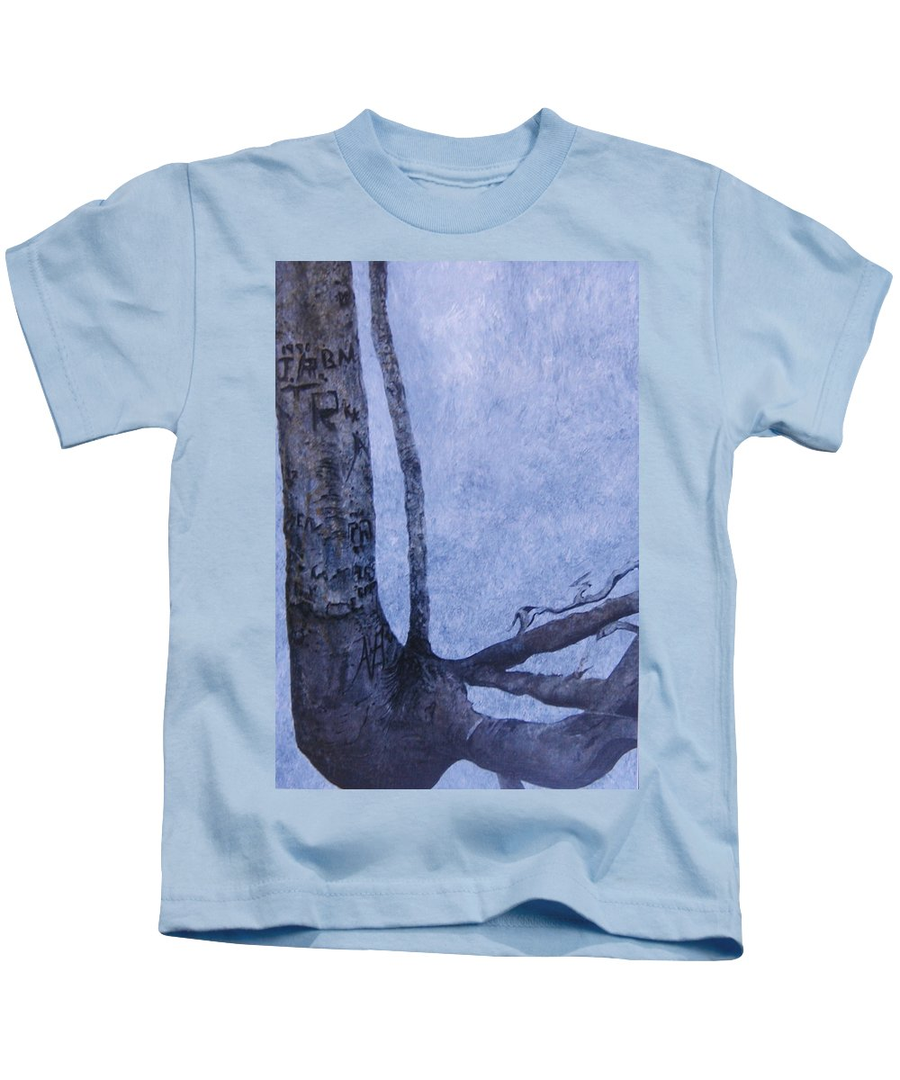 Tree Trunk Kids T-Shirt featuring the painting Hedden Park II by Leah Tomaino